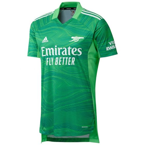 Arsenal home goalie shirt 21-22. Dark green with light green swirl pattern and white accents.