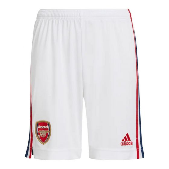 Front of Arsenal 21-22 home adults football shorts. White with red and navy Adidas stripes down the legs. And woven Arsenal crest and Adidas badge.