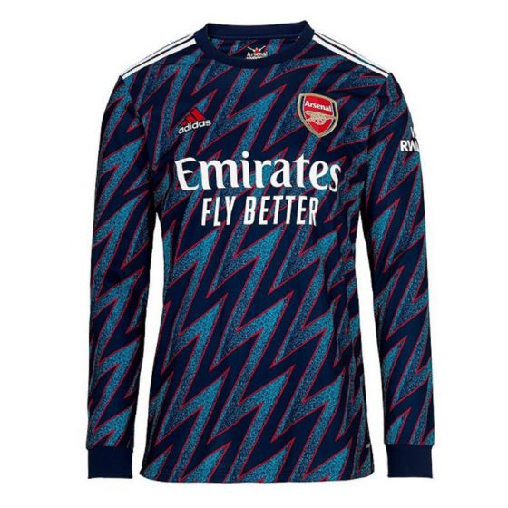 Front view of the Arsenal long sleeve third shirt 21-22. Blue speckled shirt with navy/red zig zag stripes and white accents.