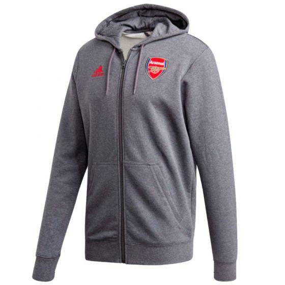 Arsenal grey 3-stripes hoodie 20/21