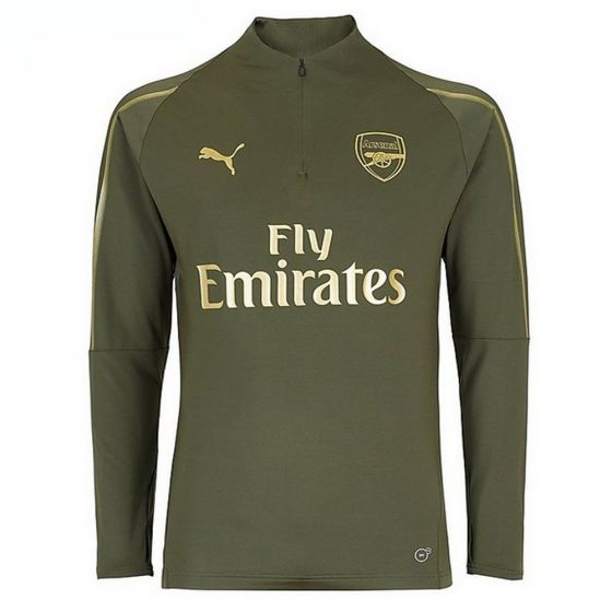 Arsenal Puma 1/4 Zip Green Training Top 2018/19 (Kids)