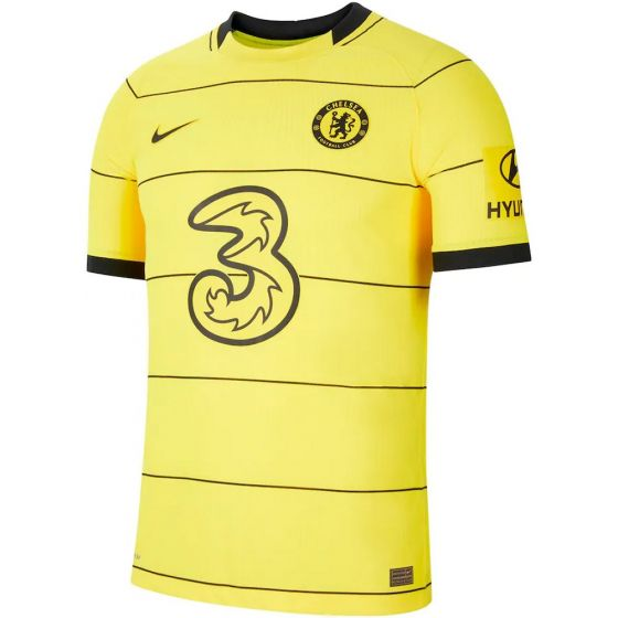 Front of the Chelsea 21-22 player match away shirt. Yellow with black accents and textured ventilation.