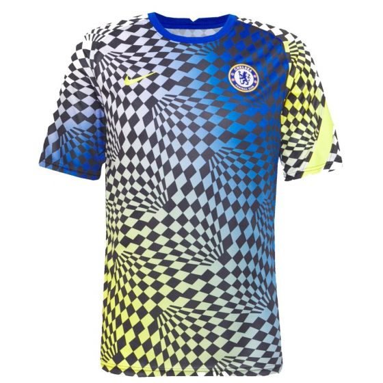 The new Chelsea pre-match top for 2021/2022 football season which the team will wear during training and when they warm up before matches.
