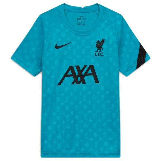Liverpool 20/21 junior turquoise pre-match jersey