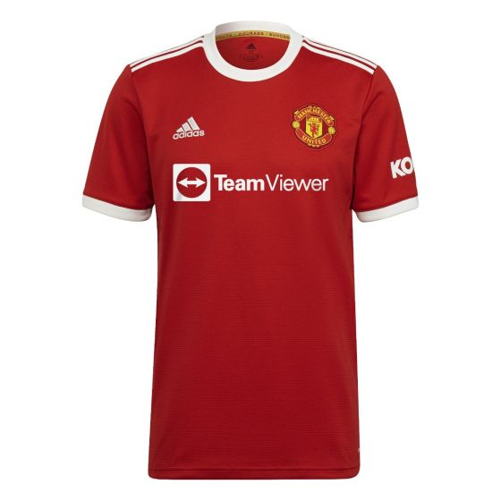 Front view of the Man Utd 21-22 home shirt. Red with white accents.