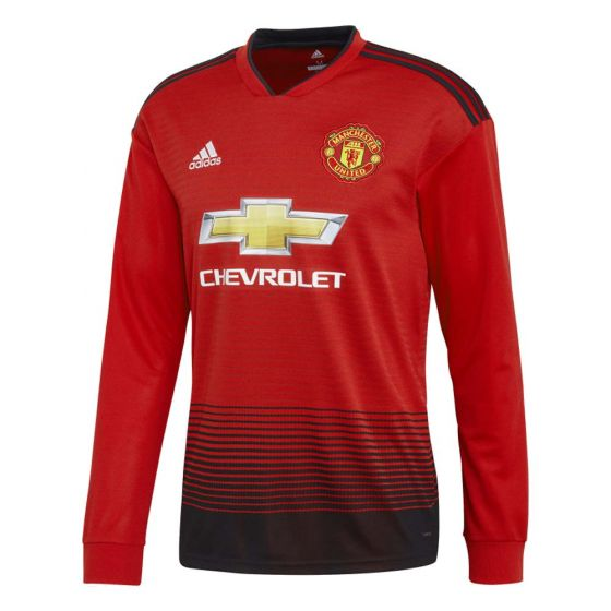 Manchester United Adidas Long-Sleeve Home Shirt 2018/19 (Adults)