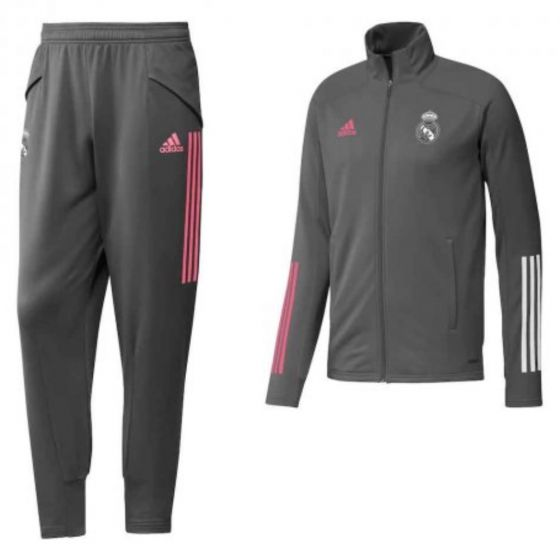Real Madrid boy's grey Adidas tracksuit 20/21