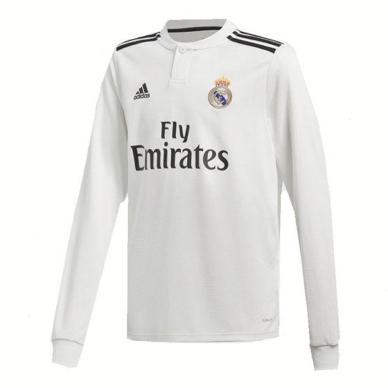 Real Madrid Adidas Long Sleeve Home Shirt 2018/19 (Kids)