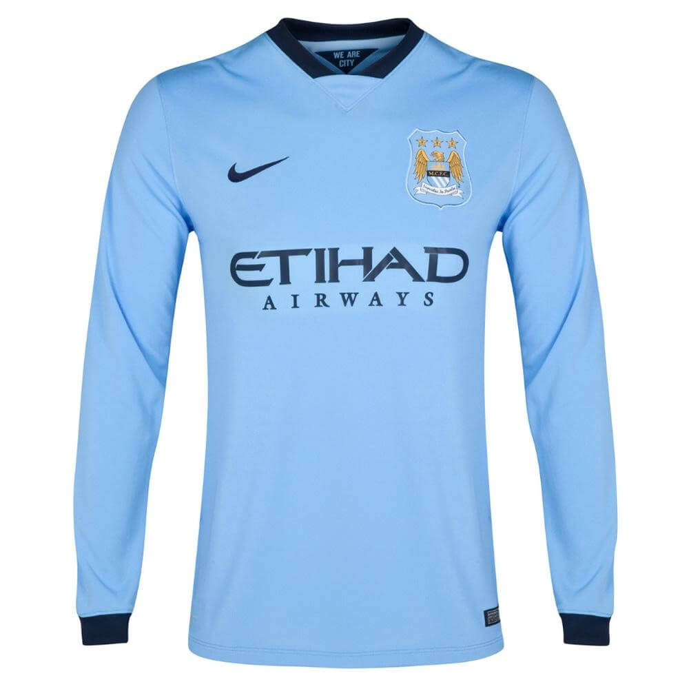 Manchester City Long Sleeve Home Jersey 2014 - 2015 a50352efd691