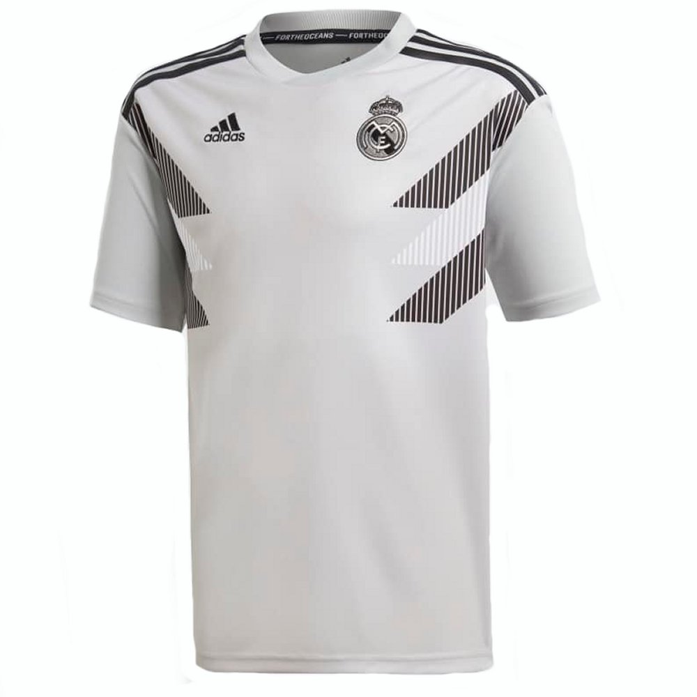 3f0c52c3028 Real Madrid Kids Adidas Grey Pre-Match Shirt 2018 19 - Official Adidas