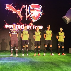 a5193dbc8 Fans gathered outside Emirates Arsenal Away Kit 2015 - 2016 Unveiling