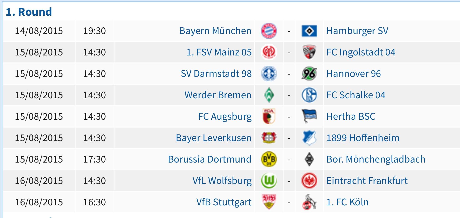 Bundesliga opening day fixtures 2015 2016 soccer box - Bundesliga premier league table ...