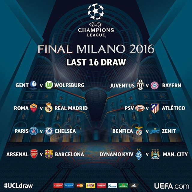 draw announced for champions league 2016 round of 16