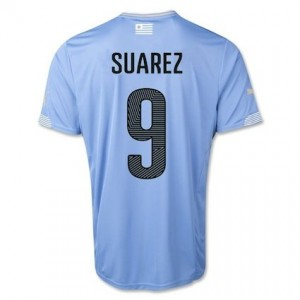 Suarez 9 Uruguay 2014 World Cup Home Shirt