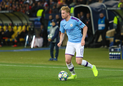 Kevin de Bruyne in the Man City home kit