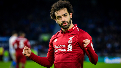 Mohamed Salah wearing the Liverpool kit