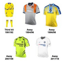 Chelsea notable away shirts