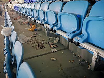 Litter in a football stadium