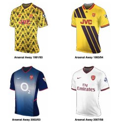 History of the Arsenal Kit Away Shirts