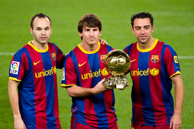 Iniesta Messi and Xavi