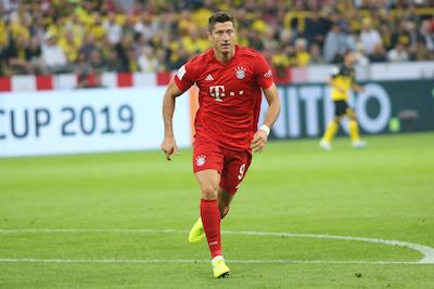 Robert Lewandowski in Bayern Munich kit
