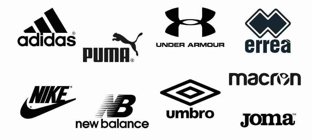 Adidas, Nike, Puma, Under Armour, New Balance, Errea, Joma, Umbro, Macron Logos