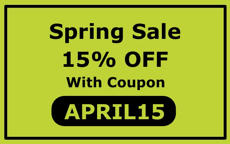 Spring sale 15% OFF code